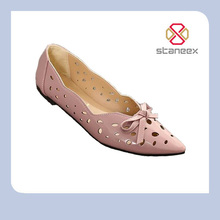 Women Summer Flat Shoes 2016 New Female Fashion PU Leather Hollow Out Bowtie Flats Working Ladies Flats Shoes