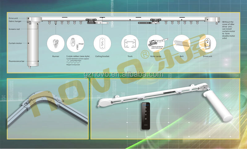 Home wireless motorized curtain rail/remote control electric curtain motor,electric drapery motor DC Curtain Motor