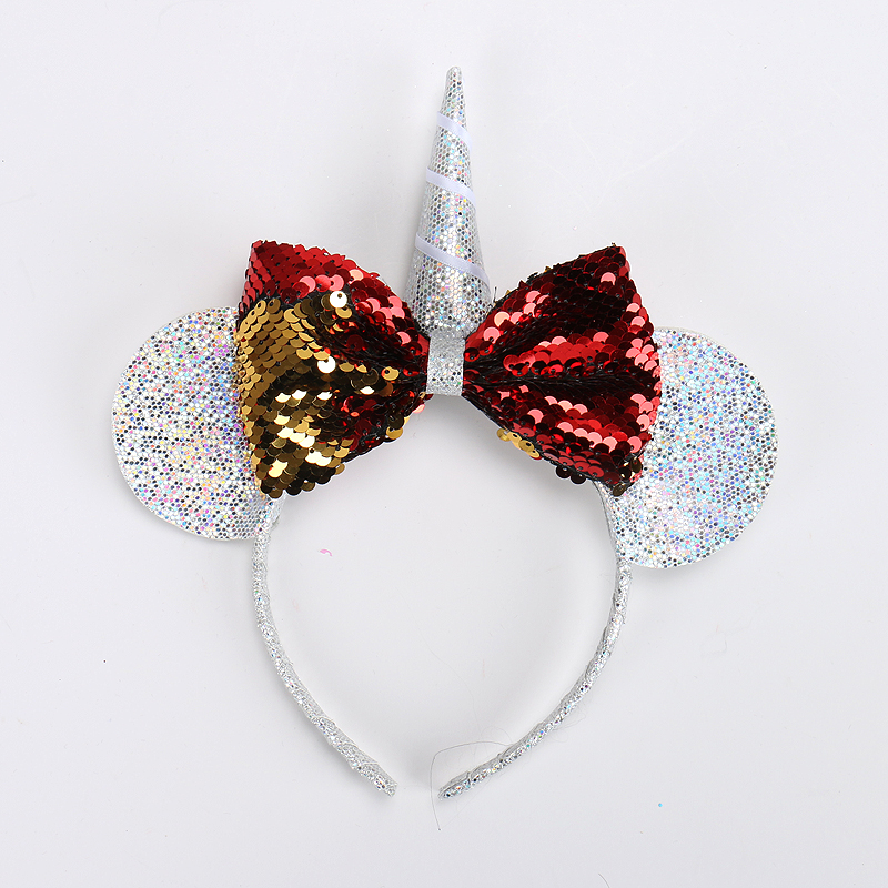 Free Shipping <strong>Hair</strong> Sticks Big Sequin Bow Hairbands Princess Mickey ears Headbands Children <strong>Hair</strong> <strong>Accessories</strong> For Party Girls