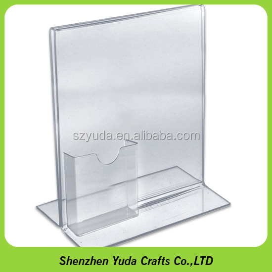 high glass A4 size Perspex sign menu holder acrylic brochure holder with business card pocket