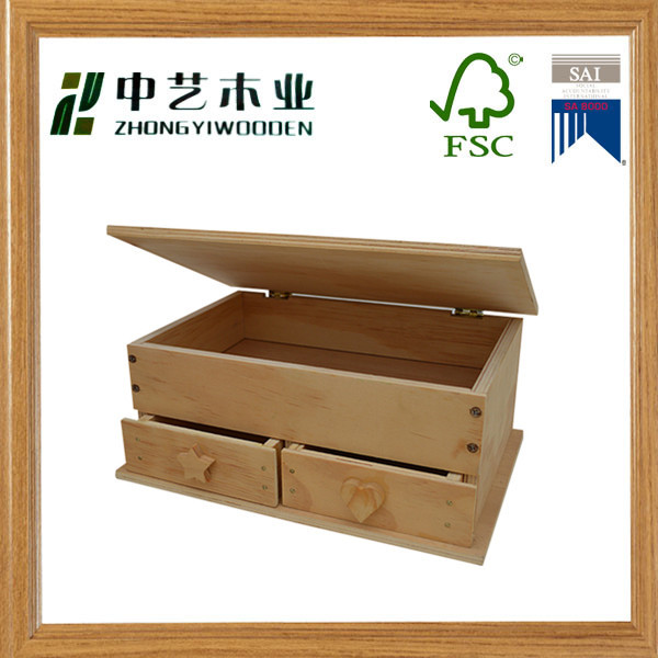 Art minds home decor mini 2 tier 3 drawer wood jewelry box lovely closure KD package wood jewelry box for storage ring