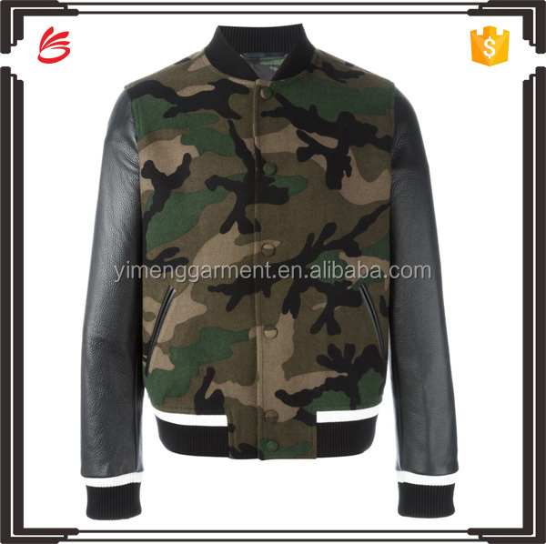 New Arrival 2017 Winter Mens Smart Camo Bomber Jacket with PU Leather Long Sleeves
