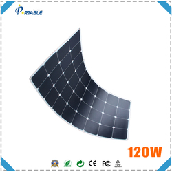 120W Semi Flexible Solar Panel for caravans golf cars boats with A grade sunpower solar cell