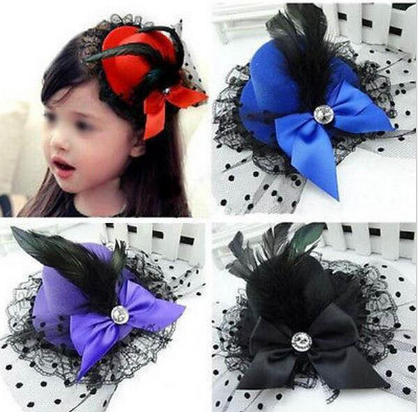 Decorative Feather Mini Top Hat Dots Net Rose Hair Clip Women Lolita Fascinator Party Womens