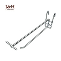 "4"" 6"" 8"" 10"" 12"" 14"" 16"" Supermarket Hanging Mesh Display Hooks with 40mm Price Tag Holder Line Chrome Gridwall Double Line Hook"