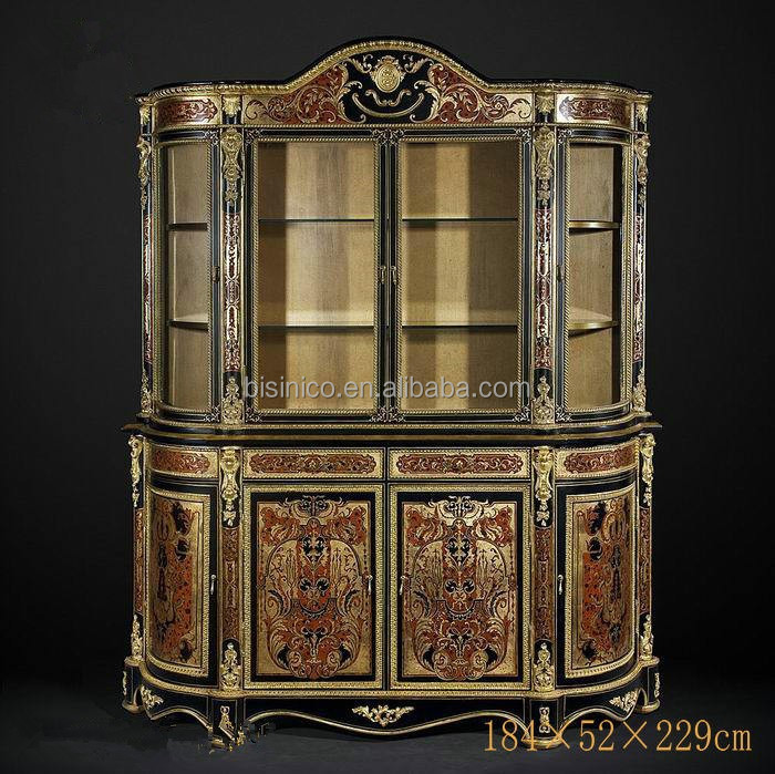 Luxury Imperial Wood Carved Sideboard, British Royal Dinning Furniture Set, Noble Gold Painted Wine Glass Display Cabinet