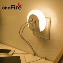 Onefire Multifunction Design Wall Plug USB Charger LED Night Light Outlet Covers With LED Lights