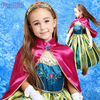 Christmas anna Dress Cosplay Costume Kids Princess ELSA Dresses for 3-10years girls
