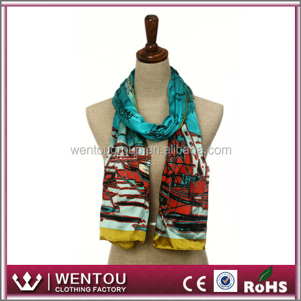 Hot sale digital printed ladies fashion japanese silk scarf