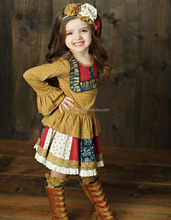Fall winter Girls Boutique Long Sleeve Casual Dress For Baby Frock Designs