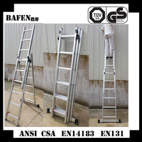 Aluminum 3 section compact extension ladder