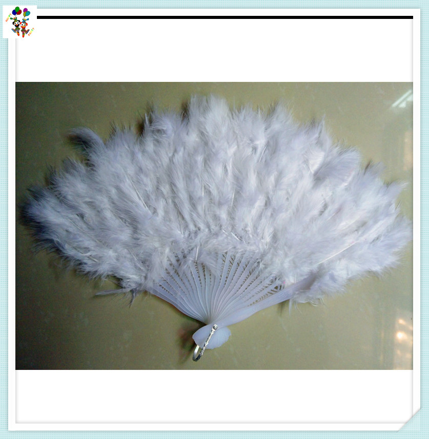 Wedding Showgirl Dance Folding White Feather Hand Fans HPC-3211