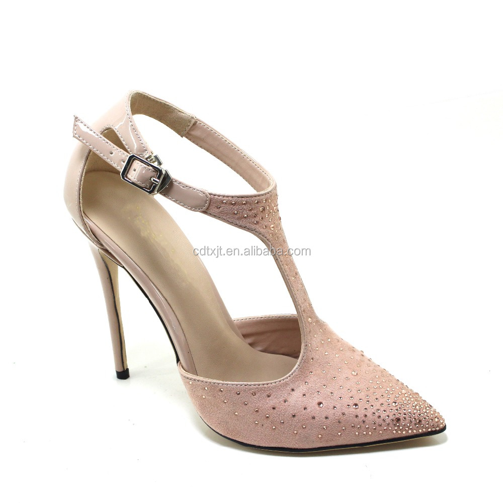 2017 pink suede pointed toe high heel women sandals buckle strap ladies stiletto women shoes with diamond