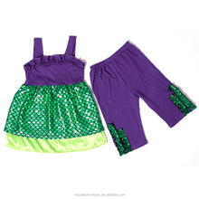 High Quality shoulder girdle top with short set girl clothing baby girl outfit