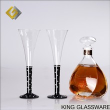 Handmade wholesale black stem crystal diamond trumpet vuvuzela shaped champagne flute glass for holiday gift and party wholesale