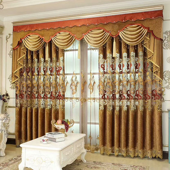 Double curtains with attached valance curtains