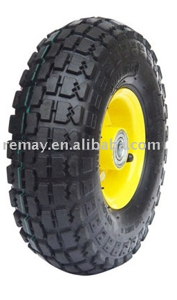 Metal rim air rubber wheel