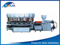 Hot SLM-6-02 Wenzhou Starlink Full Automatic Single Color TPR And PVC Sole Shoe Making Rotary Injection Moulding Machine Price