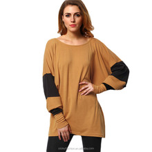 2016 Spring Khaki and Black Color Block Tees Famous Brand Ladies Long Batwing Sleeve Round Neck Loose T-Shirt XTY751