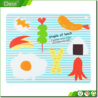 High quality flexible vegetable PP plastic cutting board/kitchen chopping mat with UV printing