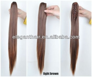 Long straight Indian human hair claw ponytail extension