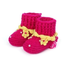 Queena Hand woven transparent beads small flowers hollow crochet baby high cylinder shoes