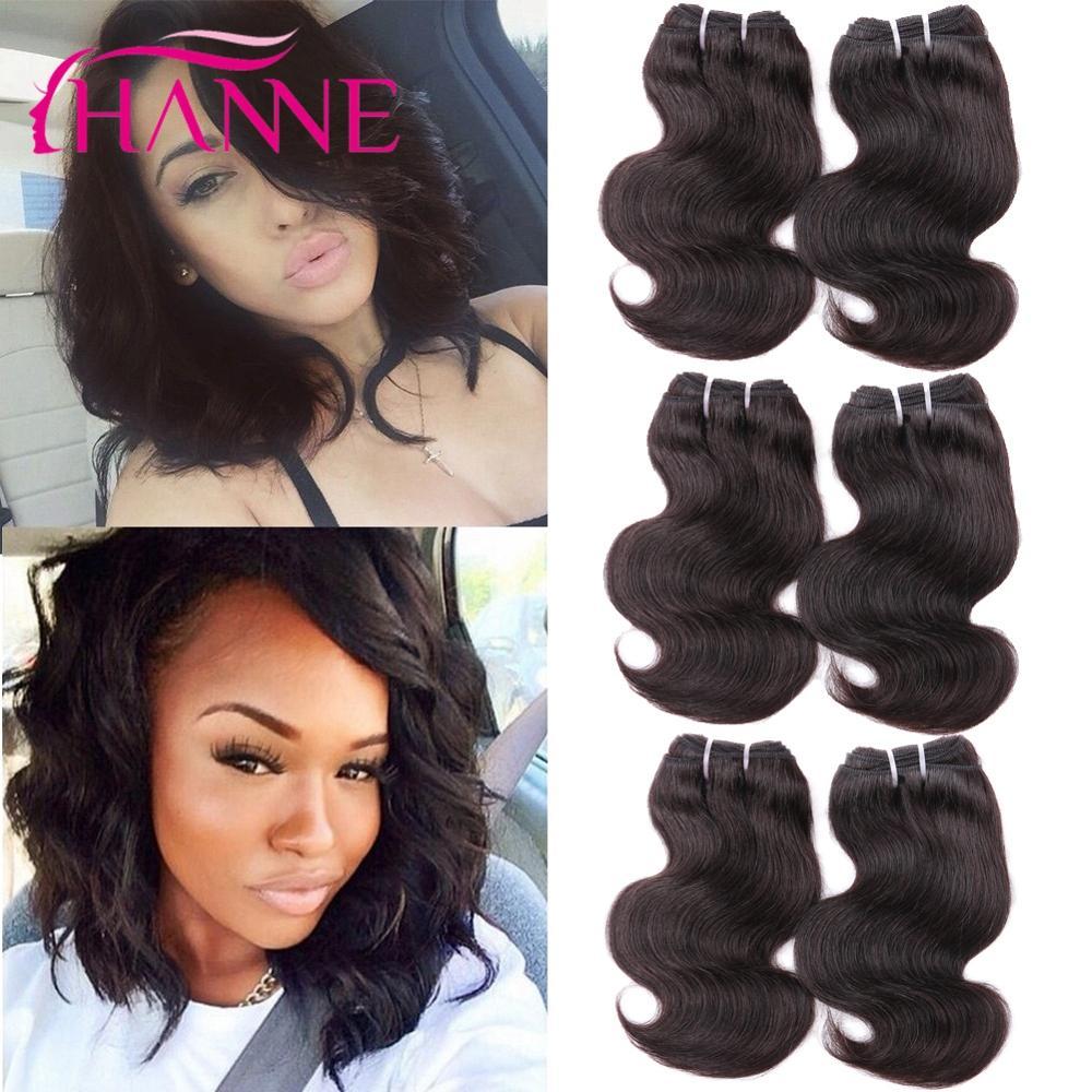 Hanne 8 Inches Short Human Hair Weaves 7a Brazilian Virgin Hair Body