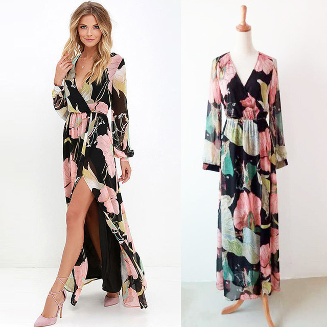 online shopping the actual pictures of latest gowns designs sexy split long maxi dress stock hot sale chiffon prints women dress