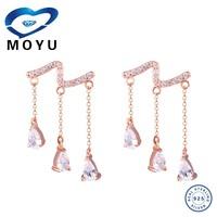 Fashion snake and 3 diamond drop earring rhodium plated earring