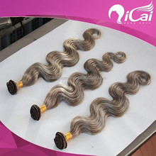 unprocessed 26inch grey color virgin remy brazilian hair weft weaving