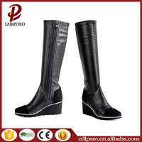 2016 High Quality China Wholesale Free sample Wedge heel Sexy Ladies Knee-high boots with Inner Zipper