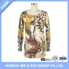 Graffiti Print Knit Fabric Long Woman Sweater Floral Cotton Robes