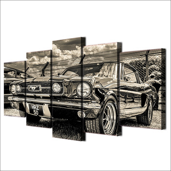 Home Decor Wall Art 5 Pieces Pictures 1965 Ford Mustang Canvas Painting