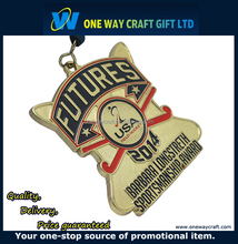 Cheap customized gold metal medal hockey souvenir medal with ribbon
