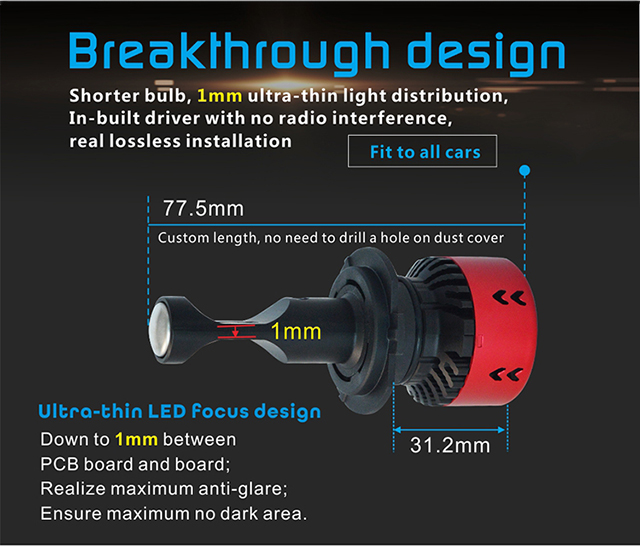 Opplight Car Accessories Auto Led Bulbs Car Headlight/Headlamp V6 8000LM H4 Led Headlight For Trucks, Car And Motorcycle