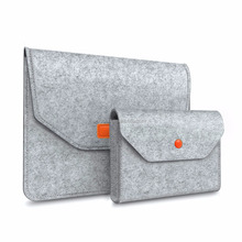 "New Wool Felt Carrying Laptop Sleeve with Small Charger Bag for 12"" Apple Macbook with Retina Display"