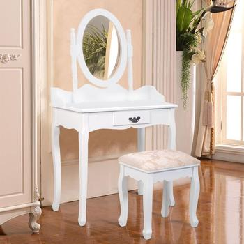 Wooden cosmetic vanity white dressing table for girls