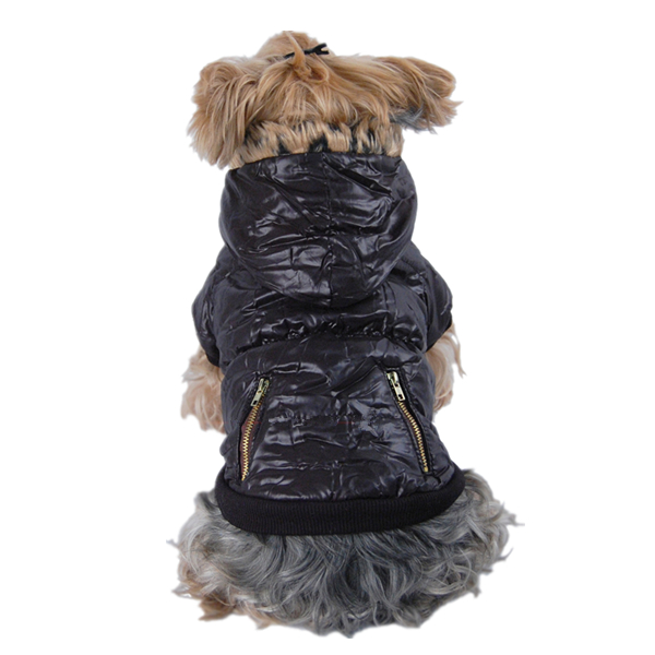 Dog Black Winter Fashion Coat with Fur Hoodie Pet Jacket