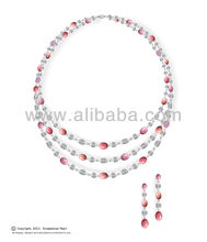 Conch Pearl Diamond and Platinum Necklace