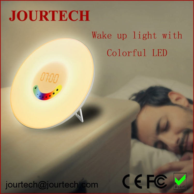 New design multi-color wake-up light led digital radio clock alarm with natural sound