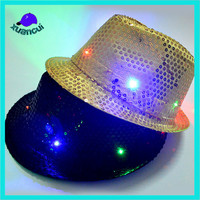 Hot bling bling lady party hats LED Light Up Sequin Fedora Hat For Halloween Costume