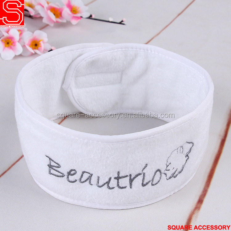 Wholesale Blank White Microfiber Polyester Custom Logo Cotton Terry Colth Yoga Spa Headband