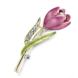 2017 Fashion Elegant Tulip Flower Brooch With Rhinestone Crystal Costume Brooch Pin Clothes Accessories Jewelry