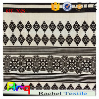 Egyptian poly cotton fabric black white fabric white flocked curtain fabric- factory in China