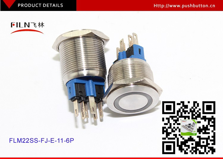 22mm stainless steel anti vandal Blue LED illuminated momentary push button switch