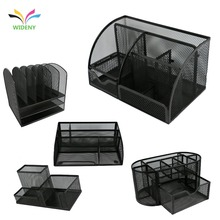 Wideny gepoedercoat office school supply lassen puched black metal mesh draad ijzer stalen bureau organizer