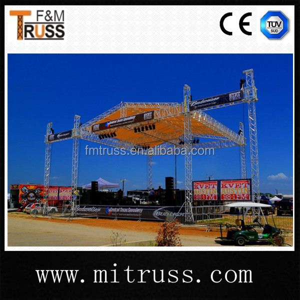 outdoor mobile concert stage roof truss and truss system with speaker wing