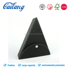 tri-angle shape fake leather paper box eco-friendly recycling cardboard unique designed fruit plate stabilized desk organizer
