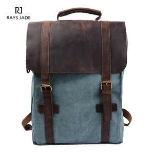 2018 hot selling canvas travel bag men leather laptop backpack