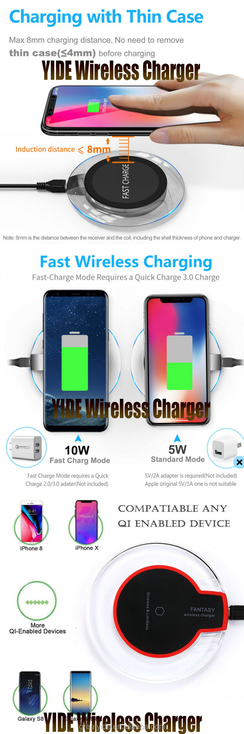 Factory Wholesale High Quality Fast Qi Wireless Charger For Huawei Smart Phone